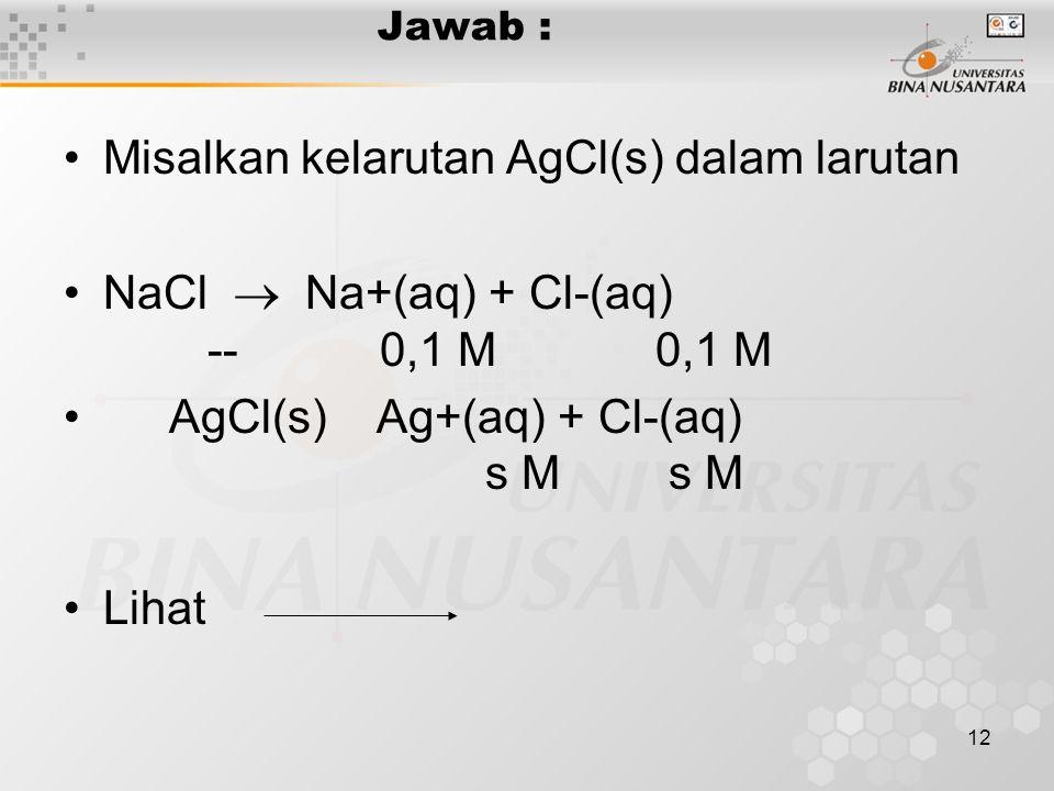 Misalkan kelarutan AgCl(s) dalam larutan