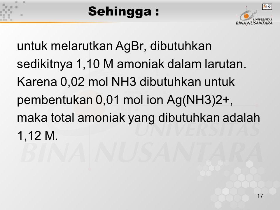 Sehingga : untuk melarutkan AgBr, dibutuhkan. sedikitnya 1,10 M amoniak dalam larutan. Karena 0,02 mol NH3 dibutuhkan untuk.