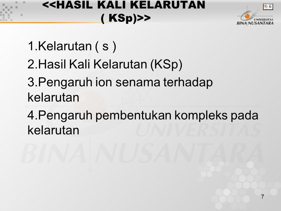 <<HASIL KALI KELARUTAN ( KSp)>>