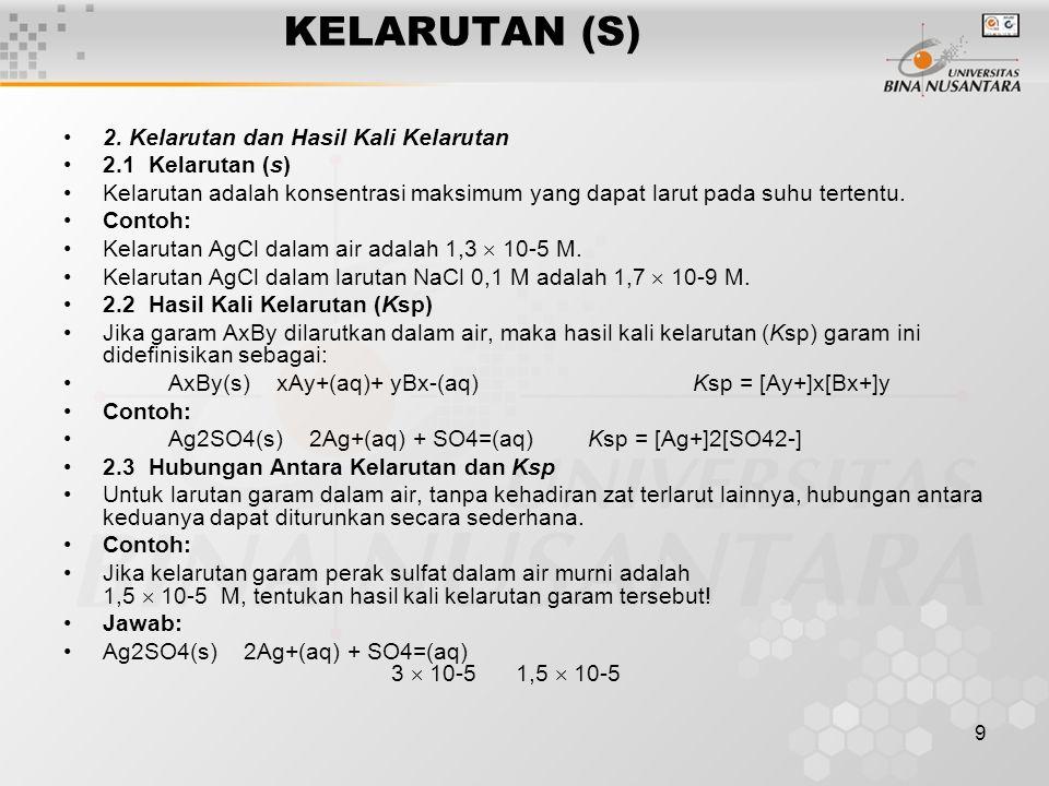 KELARUTAN (S) 2. Kelarutan dan Hasil Kali Kelarutan 2.1 Kelarutan (s)