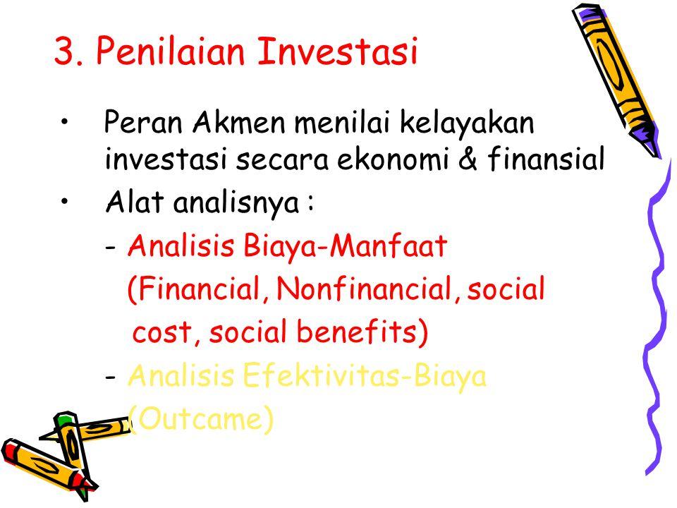 3. Penilaian Investasi Peran Akmen menilai kelayakan investasi secara ekonomi & finansial. Alat analisnya :