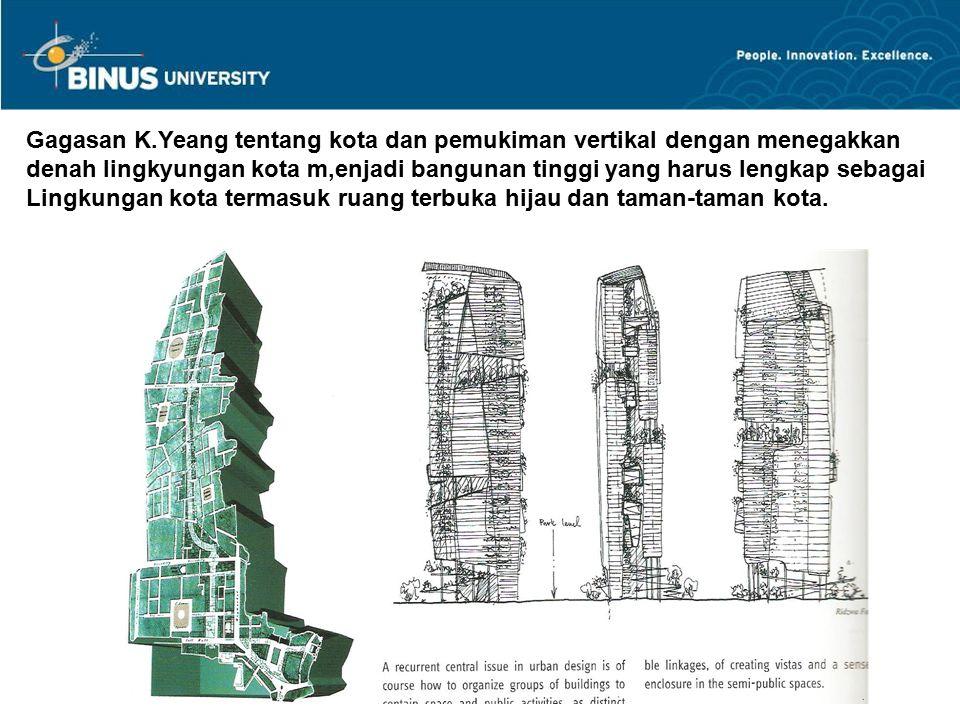 Gagasan K.Yeang tentang kota dan pemukiman vertikal dengan menegakkan