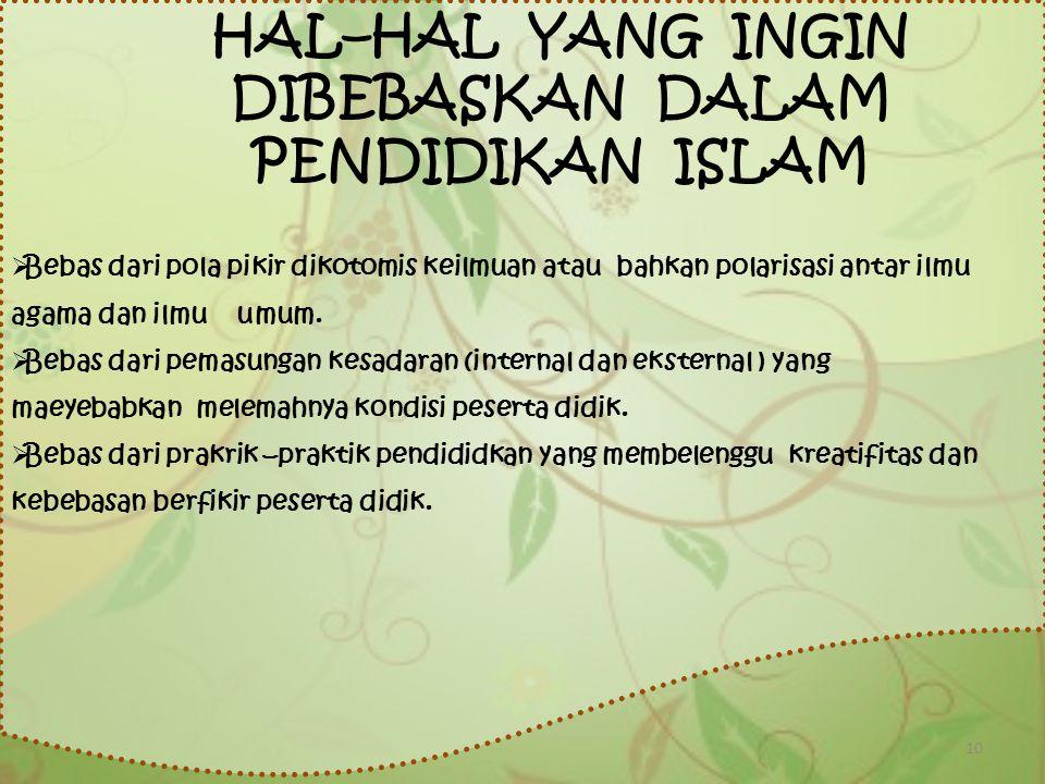 HAL–HAL YANG INGIN DIBEBASKAN DALAM PENDIDIKAN ISLAM
