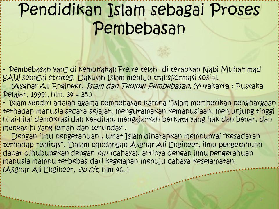Pendidikan Islam sebagai Proses Pembebasan