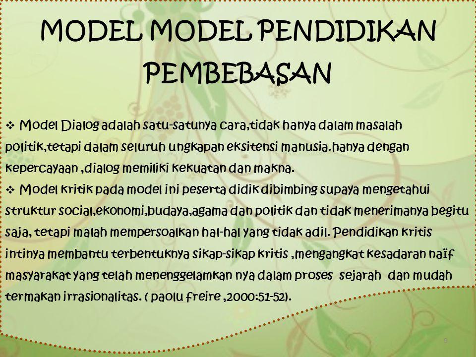 MODEL MODEL PENDIDIKAN PEMBEBASAN