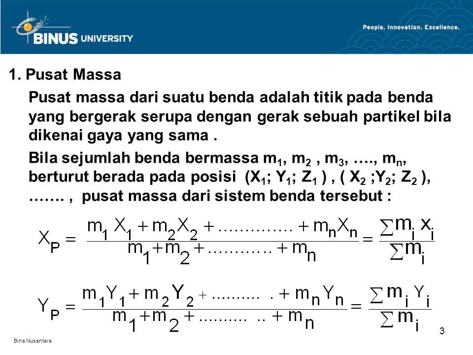 1. Pusat Massa Pusat massa dari suatu benda adalah titik pada benda yang bergerak serupa dengan gerak sebuah partikel bila dikenai gaya yang sama .