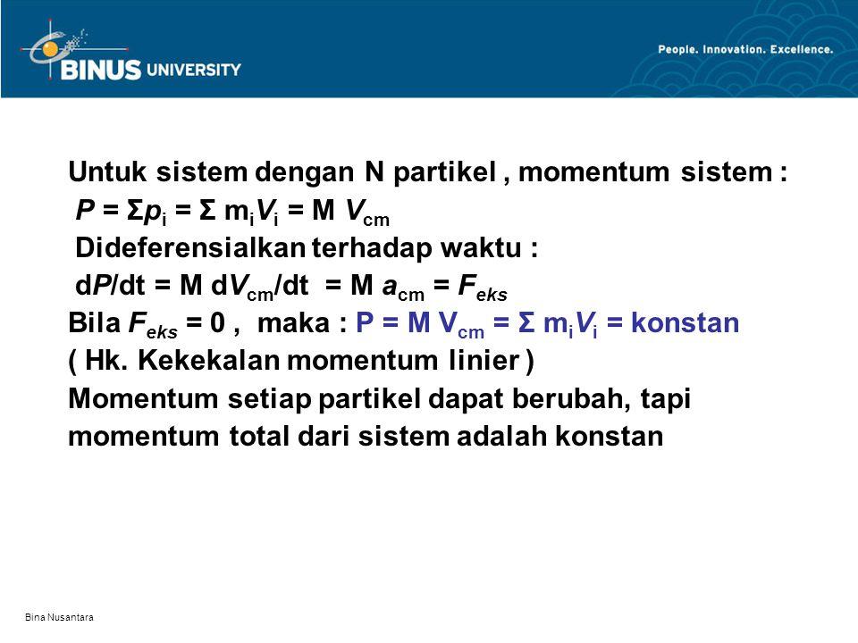 Untuk sistem dengan N partikel , momentum sistem :