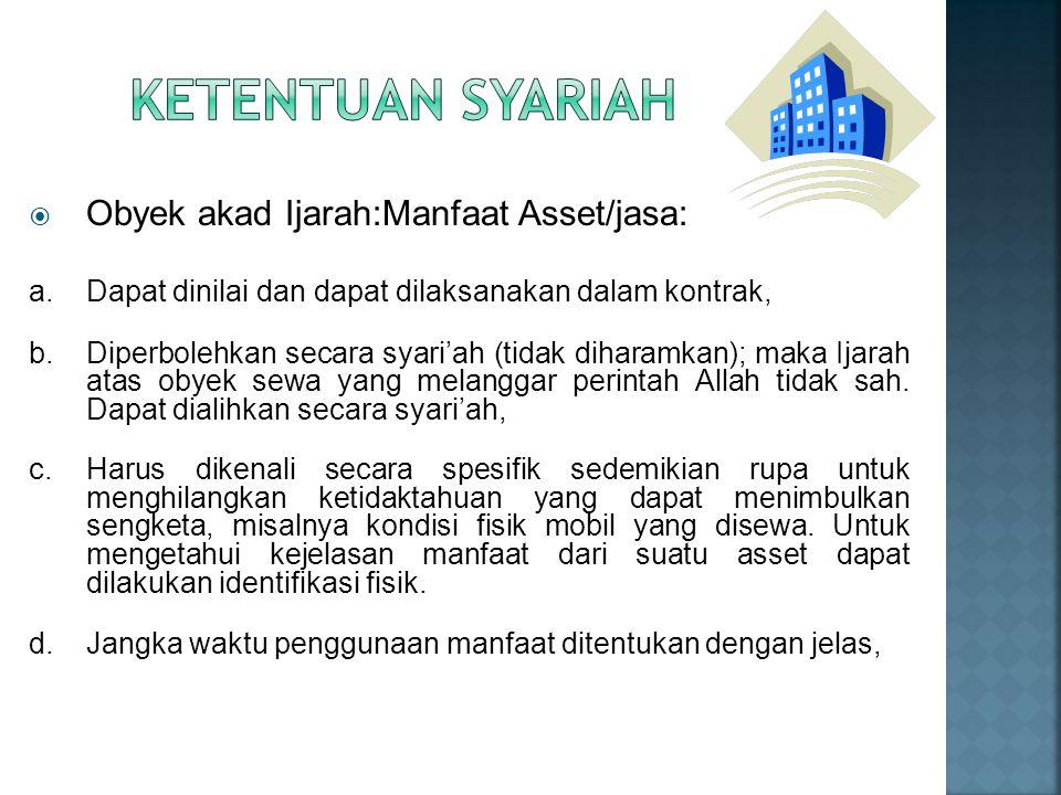 Ketentuan Syariah Obyek akad Ijarah:Manfaat Asset/jasa: