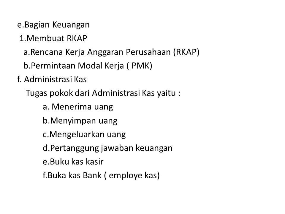e. Bagian Keuangan 1. Membuat RKAP a