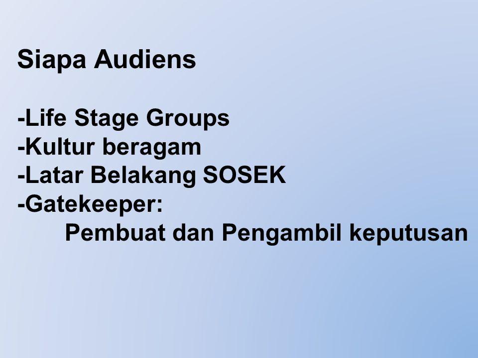 Siapa Audiens -Life Stage Groups -Kultur beragam -Latar Belakang SOSEK