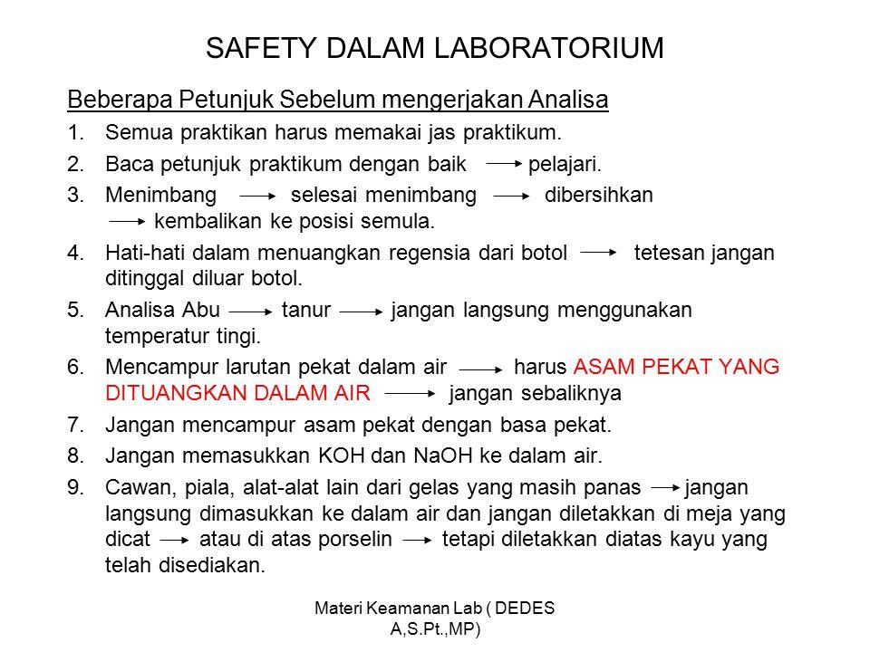 SAFETY DALAM LABORATORIUM