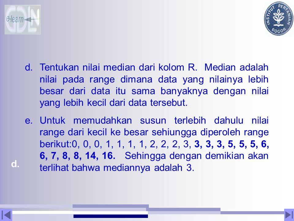 Tentukan nilai median dari kolom R
