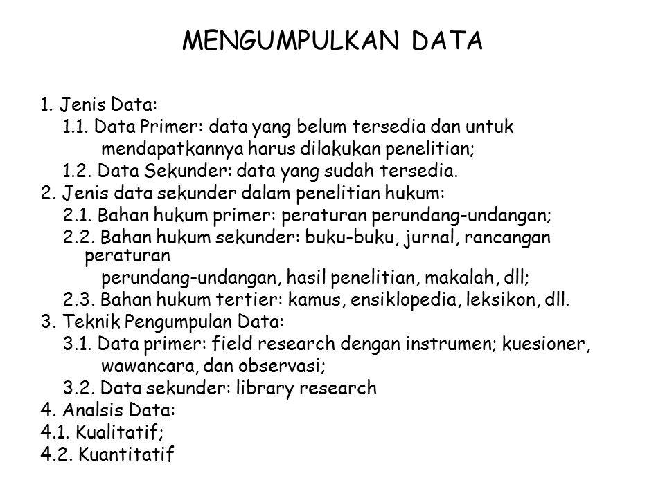 MENGUMPULKAN DATA 1. Jenis Data: