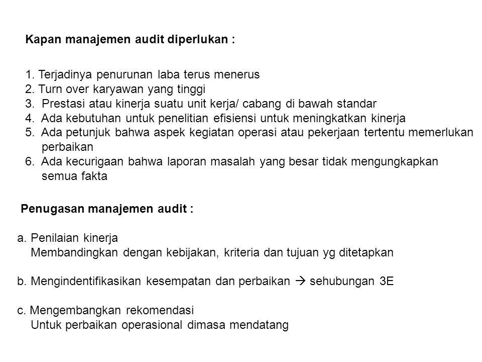 Kapan manajemen audit diperlukan :