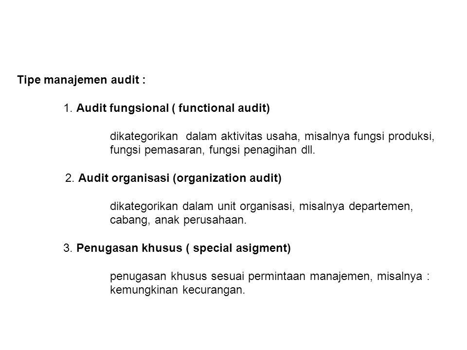 Tipe manajemen audit : 1. Audit fungsional ( functional audit) dikategorikan dalam aktivitas usaha, misalnya fungsi produksi,