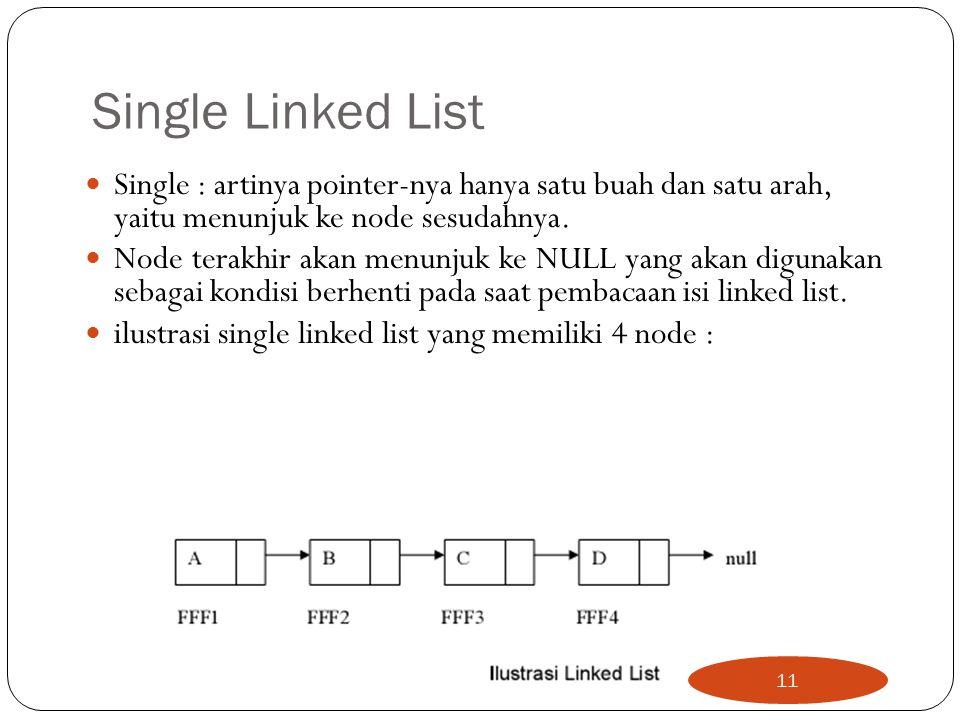 Single Linked List Single : artinya pointer-nya hanya satu buah dan satu arah, yaitu menunjuk ke node sesudahnya.
