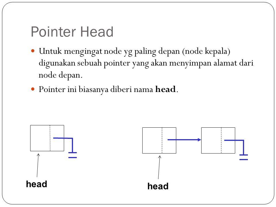 Pointer Head Untuk mengingat node yg paling depan (node kepala) digunakan sebuah pointer yang akan menyimpan alamat dari node depan.