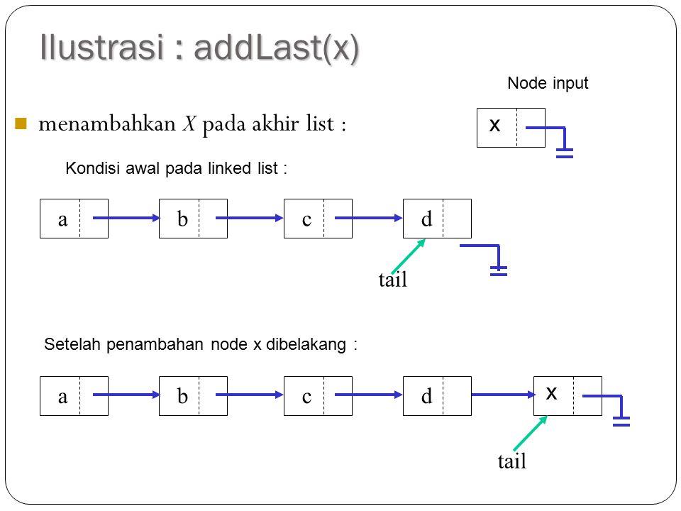 Ilustrasi : addLast(x)