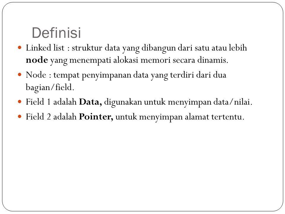 Definisi Linked list : struktur data yang dibangun dari satu atau lebih node yang menempati alokasi memori secara dinamis.