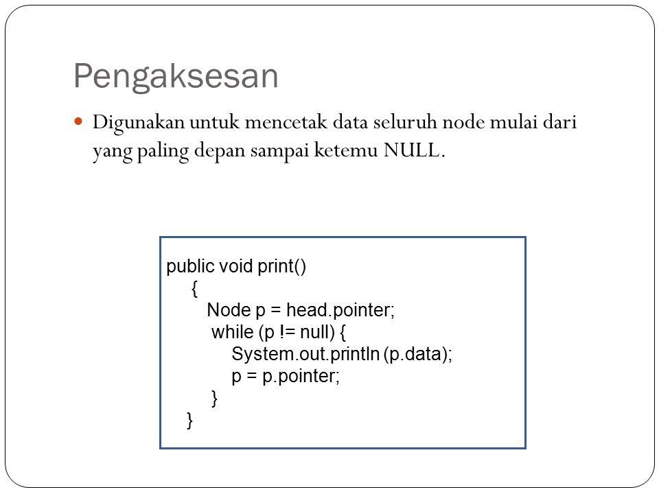 Pengaksesan Digunakan untuk mencetak data seluruh node mulai dari yang paling depan sampai ketemu NULL.