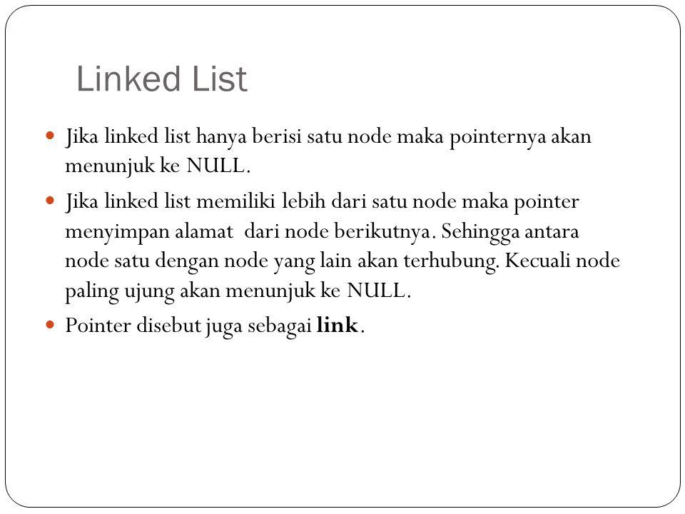 Linked List Jika linked list hanya berisi satu node maka pointernya akan menunjuk ke NULL.