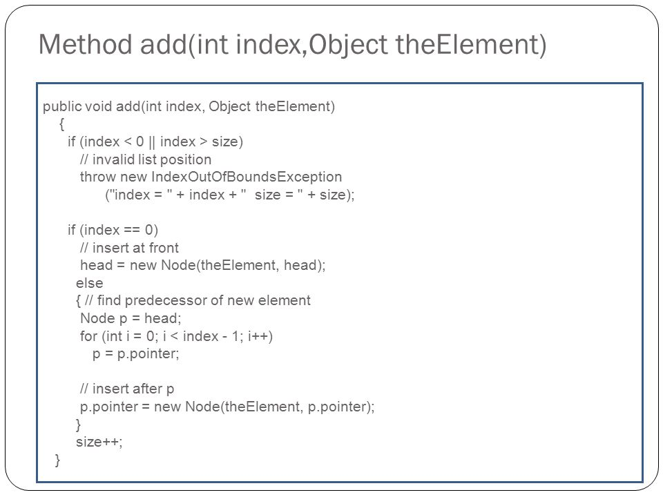Method add(int index,Object theElement)