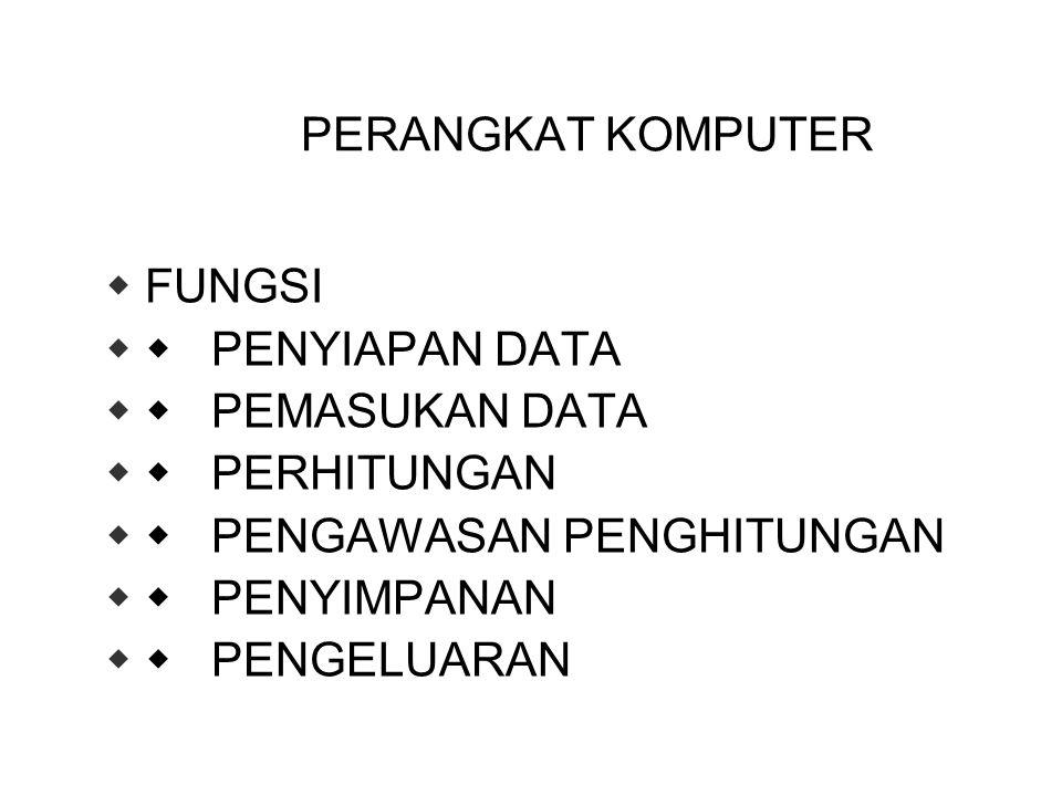 PERANGKAT KOMPUTER FUNGSI.  PENYIAPAN DATA.  PEMASUKAN DATA.  PERHITUNGAN.  PENGAWASAN PENGHITUNGAN.