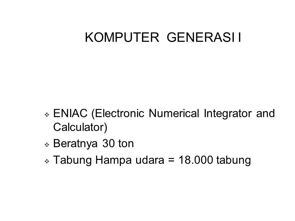KOMPUTER GENERASI I ENIAC (Electronic Numerical Integrator and Calculator) Beratnya 30 ton.