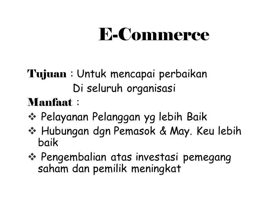 E-Commerce Tujuan : Untuk mencapai perbaikan Di seluruh organisasi