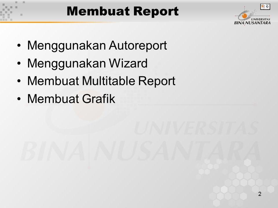 Membuat Report Menggunakan Autoreport Menggunakan Wizard Membuat Multitable Report Membuat Grafik