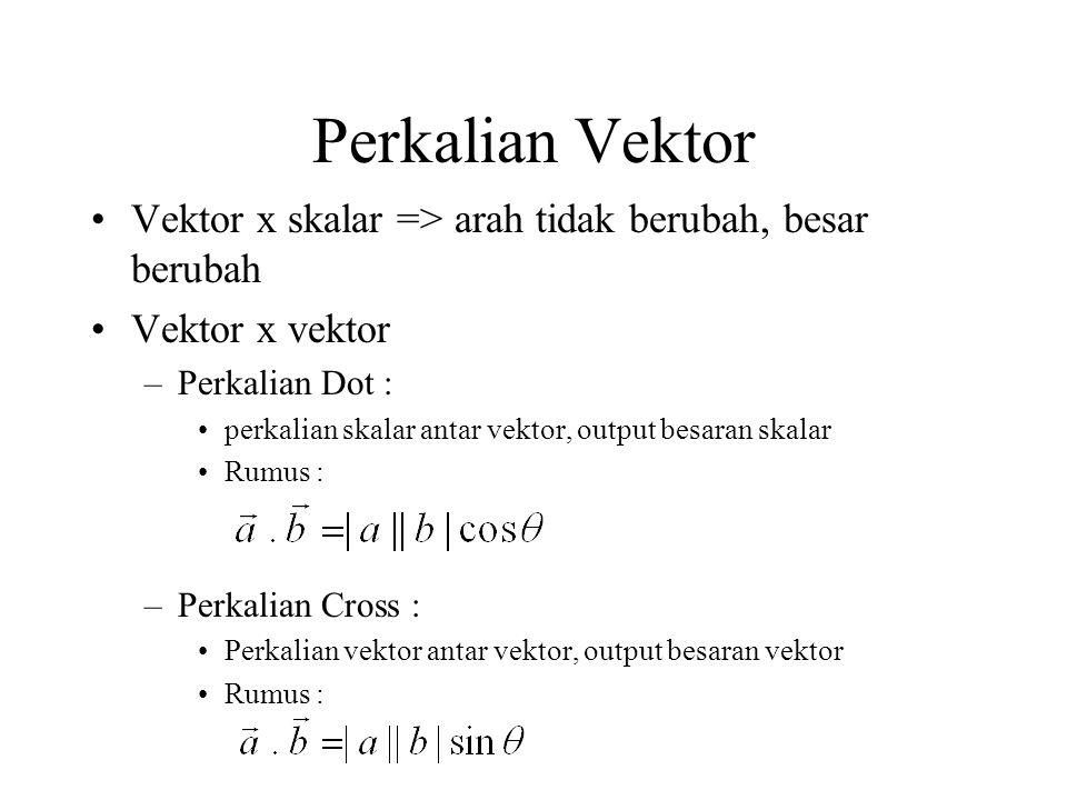 Perkalian Vektor Vektor x skalar => arah tidak berubah, besar berubah. Vektor x vektor. Perkalian Dot :