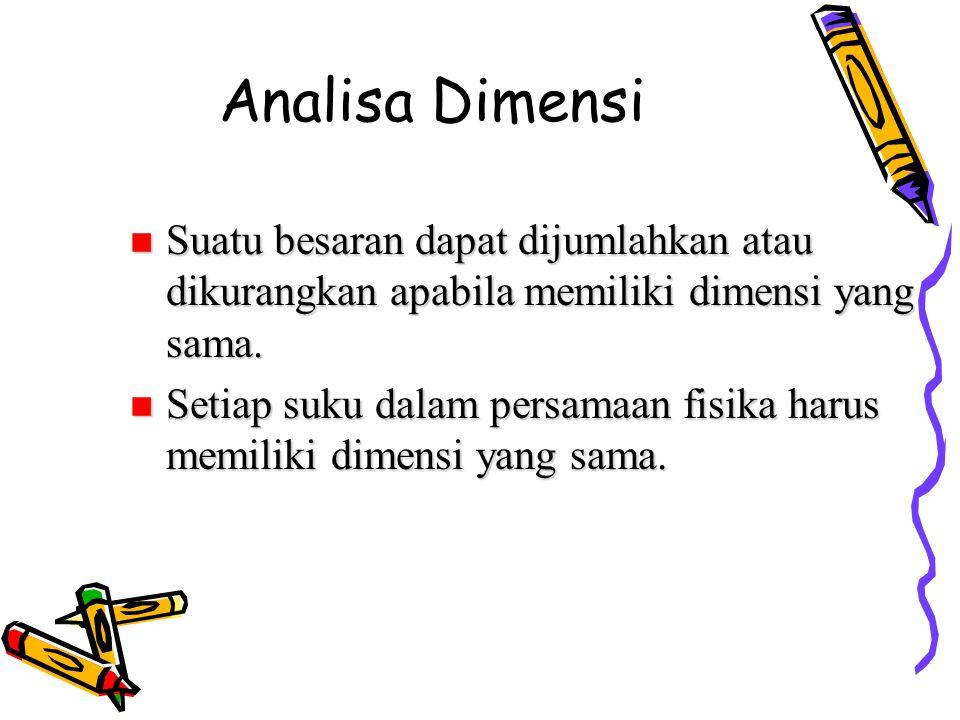 Analisa Dimensi Suatu besaran dapat dijumlahkan atau dikurangkan apabila memiliki dimensi yang sama.