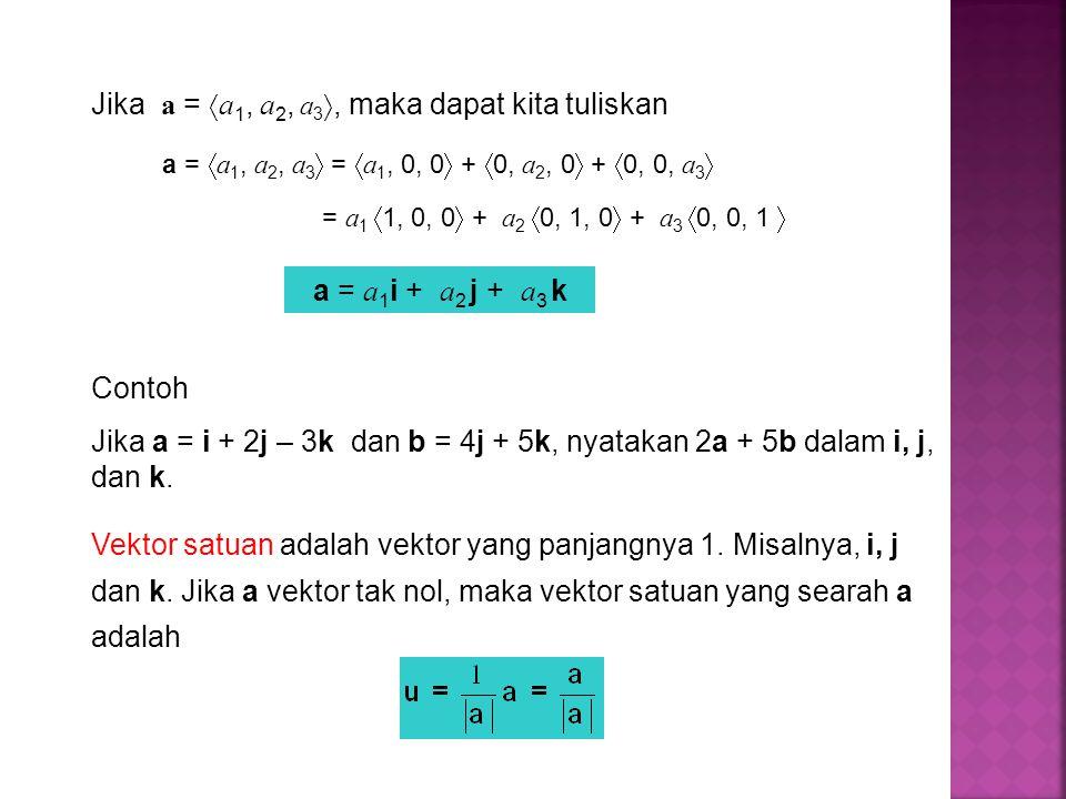 Jika a = a1, a2, a3, maka dapat kita tuliskan