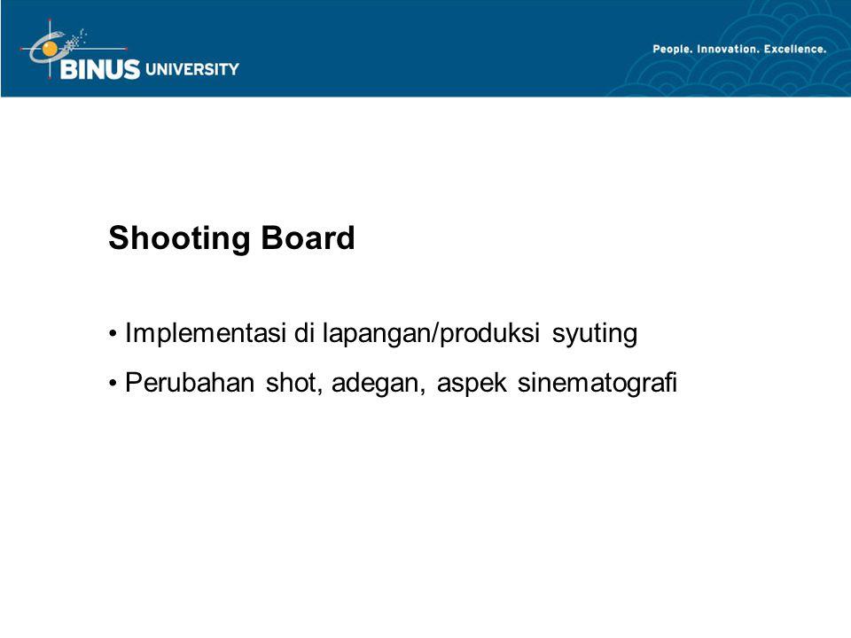 Shooting Board Implementasi di lapangan/produksi syuting