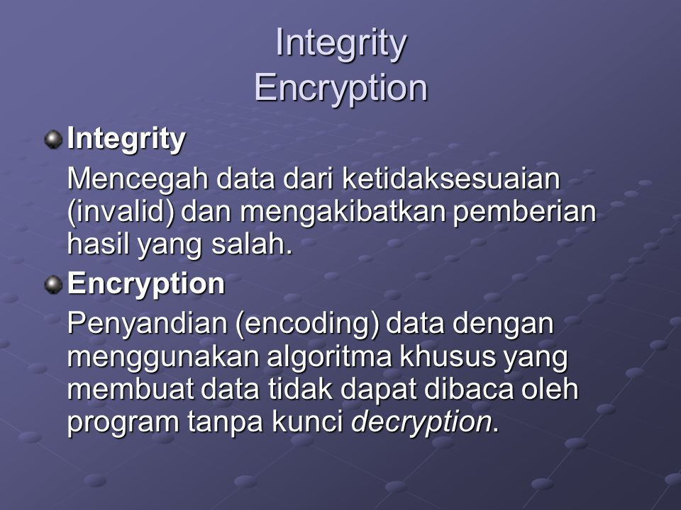 Integrity Encryption Integrity