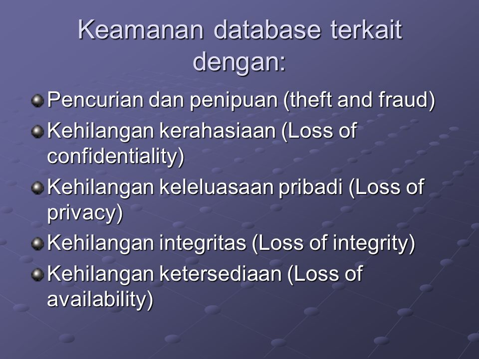 Keamanan database terkait dengan: