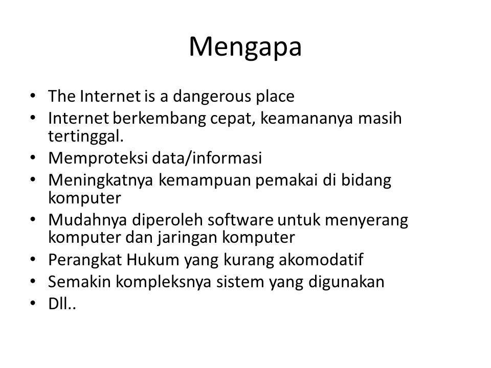 Mengapa The Internet is a dangerous place