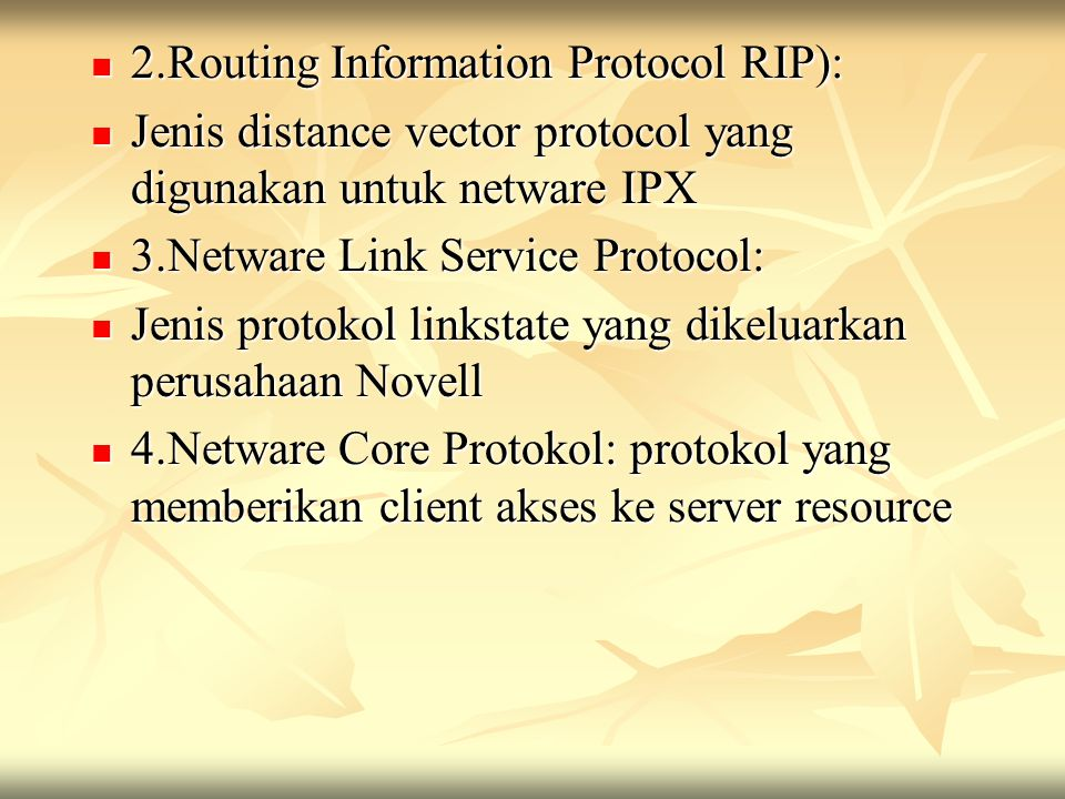 2.Routing Information Protocol RIP):