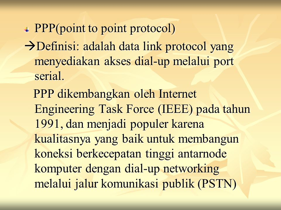 PPP(point to point protocol)