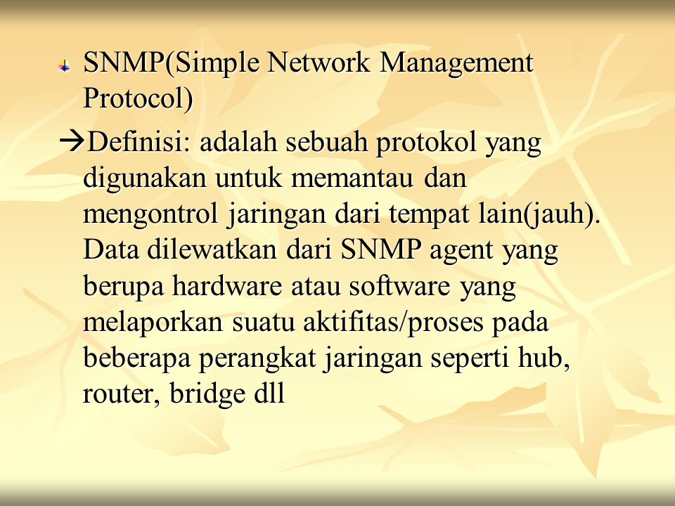 SNMP(Simple Network Management Protocol)
