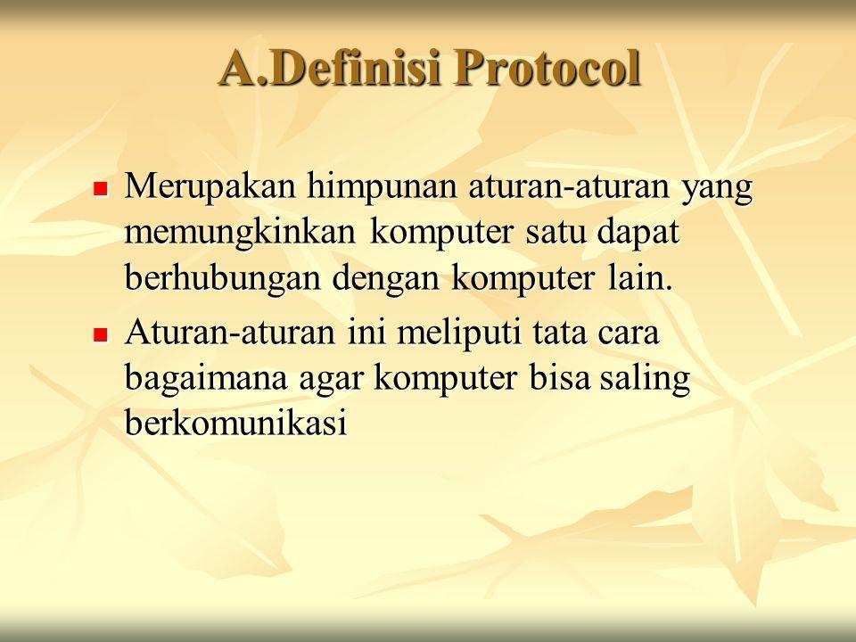 A.Definisi Protocol Merupakan himpunan aturan-aturan yang memungkinkan komputer satu dapat berhubungan dengan komputer lain.