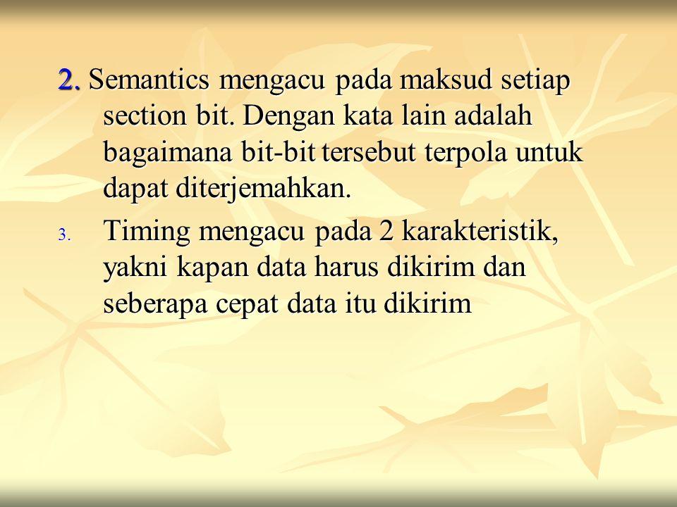 2. Semantics mengacu pada maksud setiap section bit