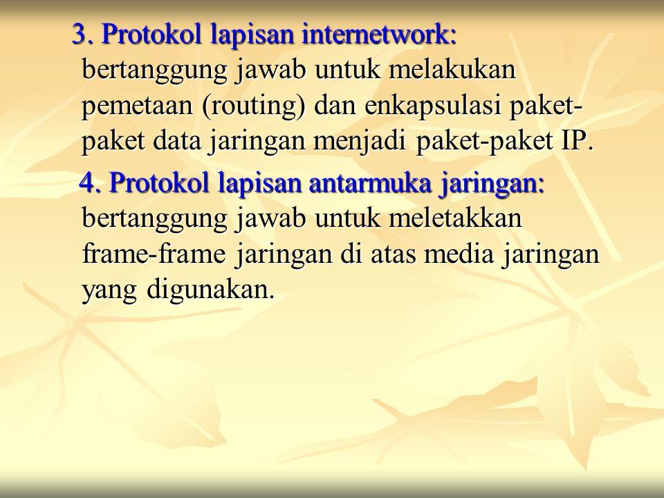 3. Protokol lapisan internetwork: bertanggung jawab untuk melakukan pemetaan (routing) dan enkapsulasi paket-paket data jaringan menjadi paket-paket IP.