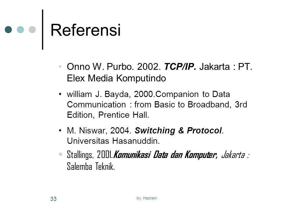Referensi Onno W. Purbo. 2002. TCP/IP. Jakarta : PT. Elex Media Komputindo.