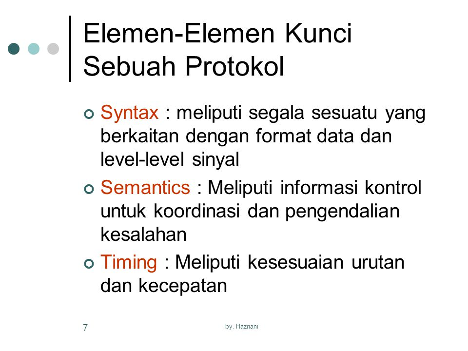 Elemen-Elemen Kunci Sebuah Protokol