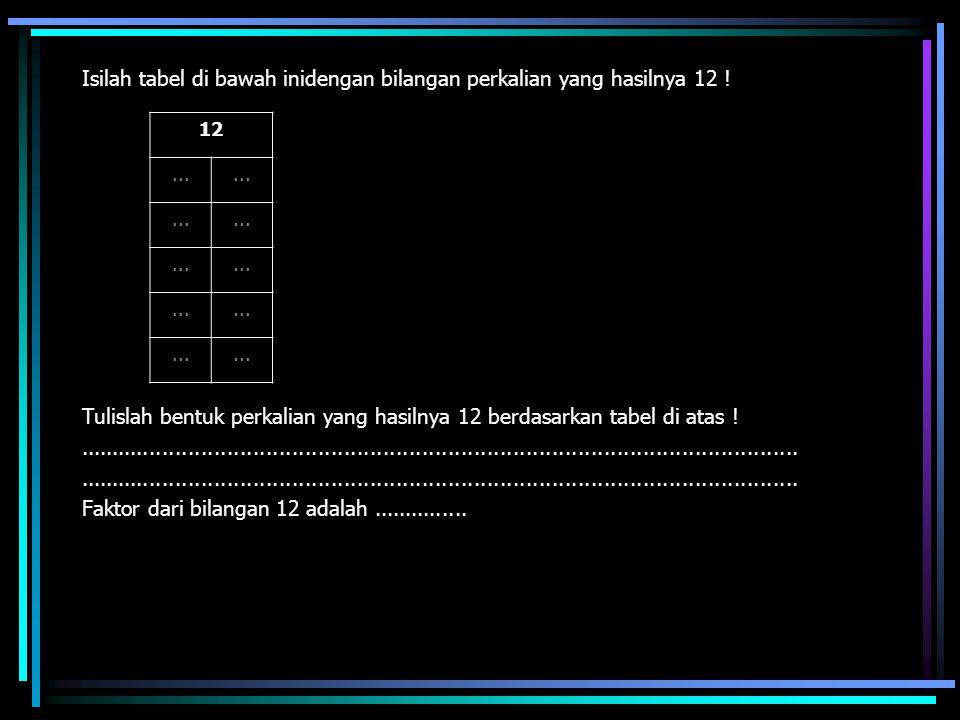 Isilah tabel di bawah inidengan bilangan perkalian yang hasilnya 12