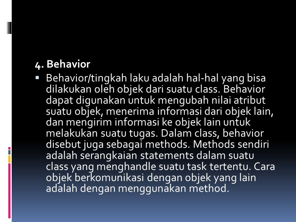 4. Behavior
