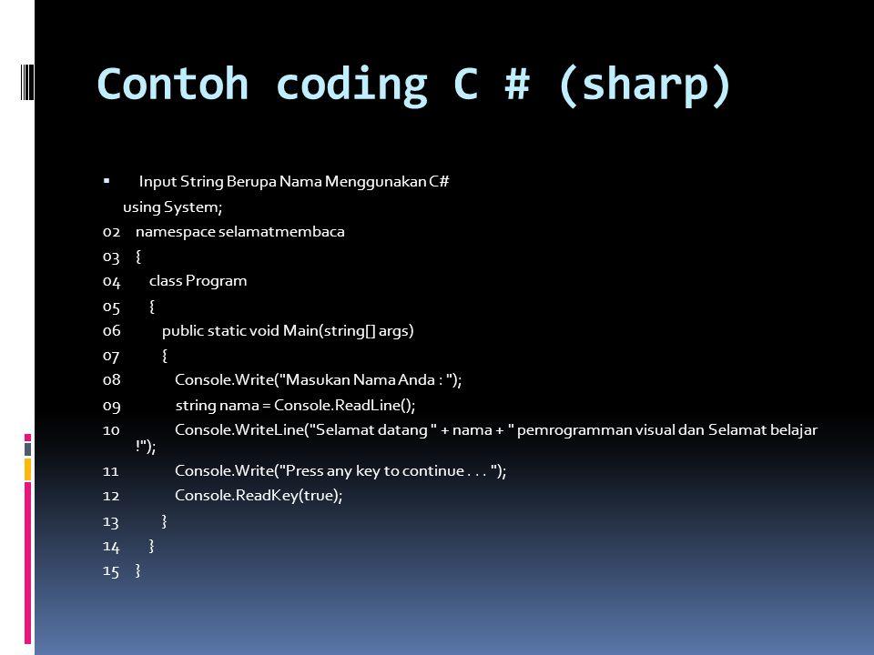 Contoh coding C # (sharp)