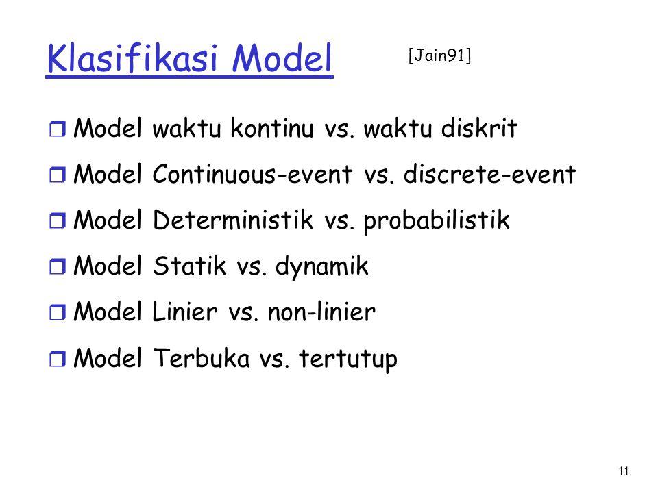 Klasifikasi Model Model waktu kontinu vs. waktu diskrit