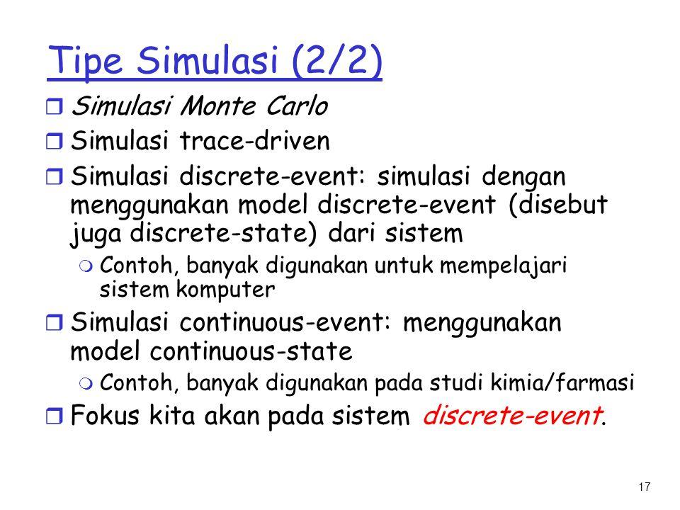 Tipe Simulasi (2/2) Simulasi Monte Carlo Simulasi trace-driven